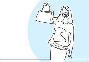 kontinuierliche Strichzeichnung von glücklichen Frauen in der Schutzmaske auf Gesicht mit neuer Tasche. junges Mädchen des schönen Teenagers, das eine Tasche in neuem normalem Zustand einkauft. Charakter Frauen Shopper. Vektorillustration vektor