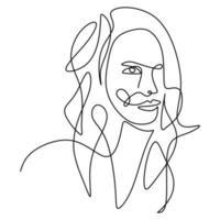abstrakt affisch med minimal kvinna ansikte en kontinuerlig kontur isolerad på vit bakgrund.