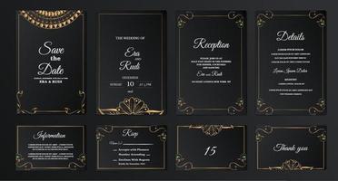 ställa in samling lyx spara datumet bröllop inbjudningskort vektor