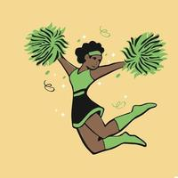 schwarze Cheerleaderin mit Pom Poms schöne Zeichentrickfigur vektor