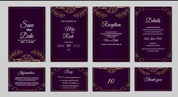 Set Sammlung elegant speichern Sie das Datum Hochzeitseinladungskarte vektor