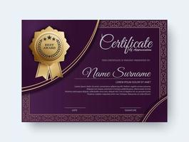 elegant lila certifikatutdelningsmall vektor