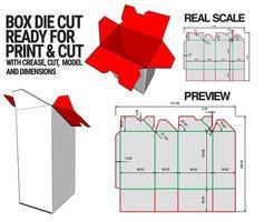 Box gestanzte Würfelschablone mit 3D-Vorschau, organisiert mit Schnitt, Falte, Modell und Abmessungen, bereit zum Schneiden und Drucken, in vollem Maßstab und voll funktionsfähig. vorbereitet für echten Karton vektor