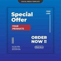 Sonderangebot Social Media Vorlage auf blauem Hintergrund. Einfach zu verwenden. Premium-Vektor