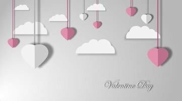 Valentinstag Hintergründe. Design-Vektor-Illustration. Papierschnitt Stil.