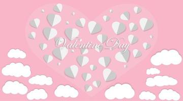 älskar vektordesign. Alla hjärtans dag bakgrunder. pappersskuren stil. vektor illustration