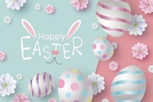 Osterkartenentwurf von Eiern und Blumen auf Farbpapiervektorillustration