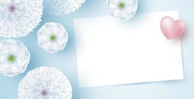 weiße Blumen mit leerem Papier und Herzvektorillustration