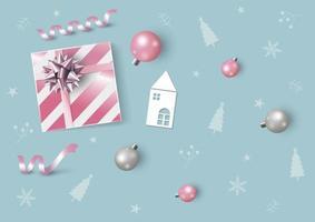 Weihnachts- und Neujahrsentwurf der rosa Geschenkbox und der Weihnachtsball-Vektorillustration