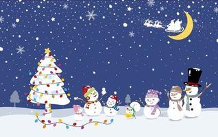 julkortdesign av snögubbefamiljen med julgran i vintervektorillustrationen