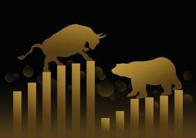 Börsenkonzeptdesign von Goldbullen und -bären mit Grafik- und Diagrammvektorillustration