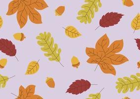 nahtloses Muster von Herbstlaub und Eichel fallen Hintergrundvektorillustration