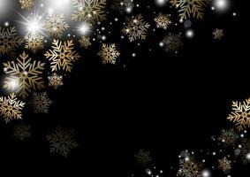 Weihnachtshintergrundentwurf der Goldschneeflockenwintersaisonvektorillustration