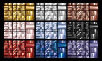 uppsättning av guld silver koppar ros blå svart metall eller metallisk bakgrund vektorillustration vektor