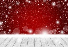 Weihnachtshintergrundentwurf des leeren weißen Holzes mit fallender Schneevektorillustration