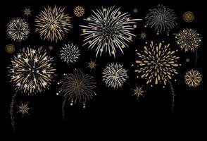 Feuerwerksentwurf auf schwarzer Hintergrundvektorillustration