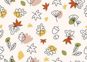 Herbst Themen Design mit flachem Blatt nahtloses Muster editierbares Design vektor