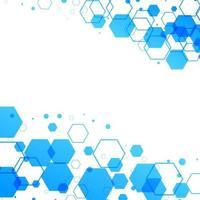 abstrakt vit bakgrund med blå sexkantiga former vektor