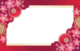 Rosa Blumen des chinesischen Neujahrs mit rotem Hintergrund vektor
