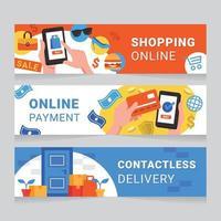 kontaktlös shoppingbanner vektor