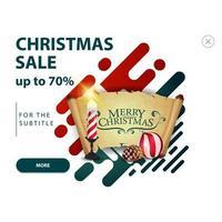 Weihnachtsverkauf, bis zu 70 Rabatt, modernes Pop-up für Website mit Weihnachtskerze, altem Pergament, Weihnachtsball und Kegel vektor