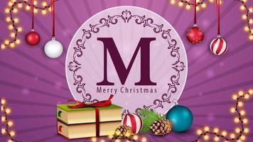 Frohe Weihnachten, Postkarte mit Girlande, Weihnachtsbücher, Weihnachtsball und Kegel vektor