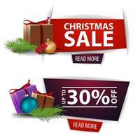 Weihnachtsrabattfahnen mit Geschenken lokalisiert auf weißem Hintergrund. rote und lila Vorlagen vektor