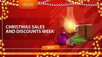 Weihnachtsverkauf und Rabattwoche, rotes helles horizontales modernes Web-Banner mit Geschenk, Weinleselaterne, Weihnachtsbaumzweig mit einem Kegel und einem Weihnachtsball vektor