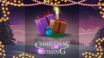 julen kommer, banner med presenter. vykort med vackert vinterlandskap på bakgrund
