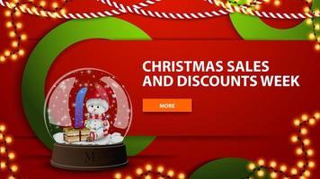 julförsäljning och rabattvecka, röd ljus horisontell modern webbbanner med knapp och snöjordklot med snögubbe