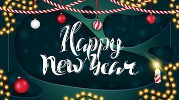 Frohes neues Jahr, grüne horizontale Postkarte im Papierschnittstil mit schöner Beschriftung vektor