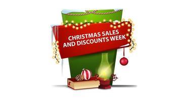julförsäljning och rabattvecka, röd och grön vertikal banner för din kreativitet i tecknad stil med antik lampa, julbok, julkula och kon