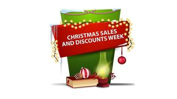 Weihnachtsverkauf und Rabattwoche, rotes und grünes vertikales Banner für Ihre Kreativität im Cartoon-Stil mit antiker Lampe, Weihnachtsbuch, Weihnachtsball und Kegel vektor