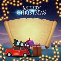 god jul, hälsningsvykort med veteranbil som bär julgran, gammalt pergament för din text och vackert vinterlandskap i bakgrunden