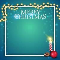 julmall för vykort eller rabattbanner med julkrans, ljus och kon vektor
