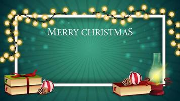 julgrön mall för vykort eller rabattbanner med antik lampa, julböcker, julboll och kon vektor