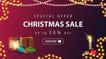 Sonderangebot, Weihnachtsverkauf, bis zu 50 Rabatt, modernes lila Rabattbanner im minimalistischen Stil vektor