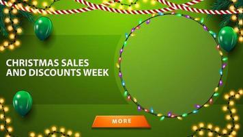 Weihnachtsverkauf und Rabattwoche, grüne Vorlage für Ihre Künste mit Platz für Ihre Waren vektor