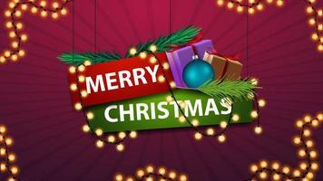 Frohe Weihnachten, Zeichen im Cartoon-Stil mit Geschenken und Girlande. Emblem für Ihre Kreativität