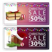 Weihnachtsrabattfahnen lokalisiert auf weißem Hintergrund. rosa und lila Vorlagen vektor