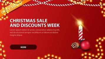 Weihnachtsverkauf und Rabattwoche, modernes rotes Rabattbanner im minimalistischen Stil mit Weihnachtskerze vektor
