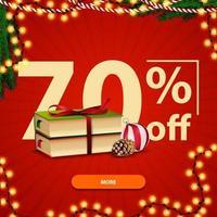 Weihnachtsquadrat rotes Rabattbanner mit Weihnachtsbüchern, Weihnachtskugel und Kegel vektor