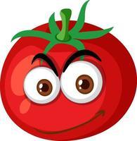 Tomatenkarikaturfigur mit glücklichem Gesichtsausdruck auf weißem Hintergrund