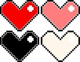 uppsättning av olika färger på pixelhjärtor