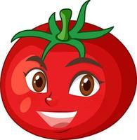 tomat seriefigur med glad ansiktsuttryck på vit bakgrund