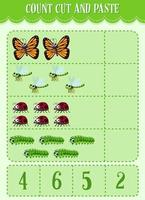 Mathe-Arbeitsblatt für Kinder zählen, ausschneiden und einfügen