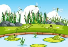många gröna grodor och slända i dammscenen vektor