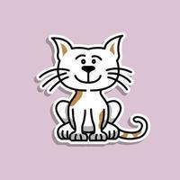 söt djur katt klistermärke design vektor