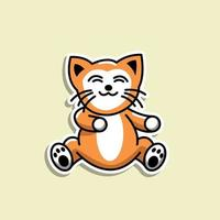 söt djur katt klistermärke illustratör design vektor