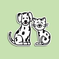 söt djur katt och hund klistermärke design vektor